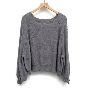 Free People Oversized Blue Grey Sweater - Size M